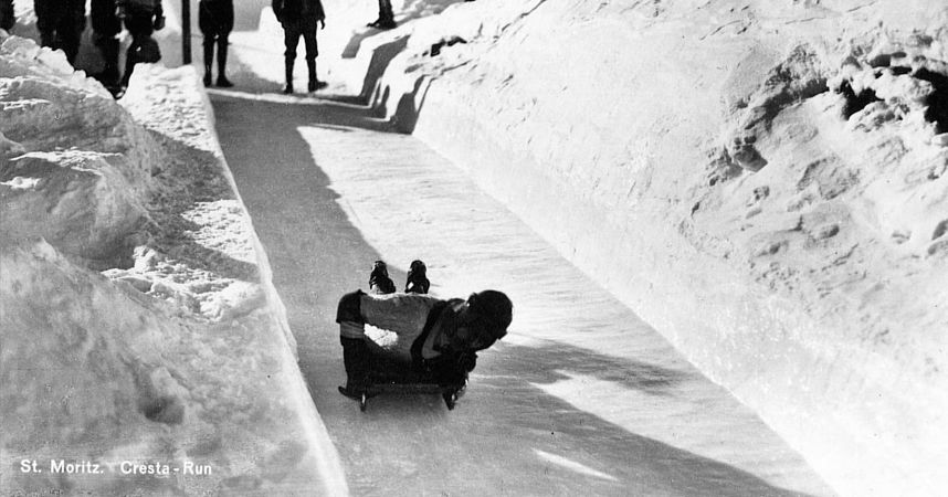 Tobogganing on the Cresta Run, St. Moritz: Old c. 1950 (est.)