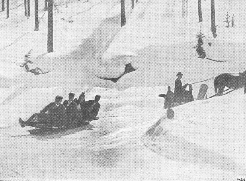 "From 1885. ""The Strand Magazine"". The Cresta Run – Bobsleigh turning a corner on the high road."