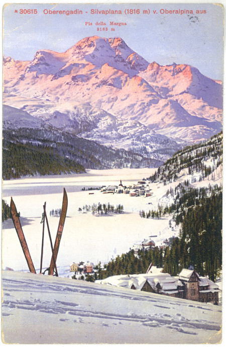 From 1920's. Stamped Postcard. St. Moritz.