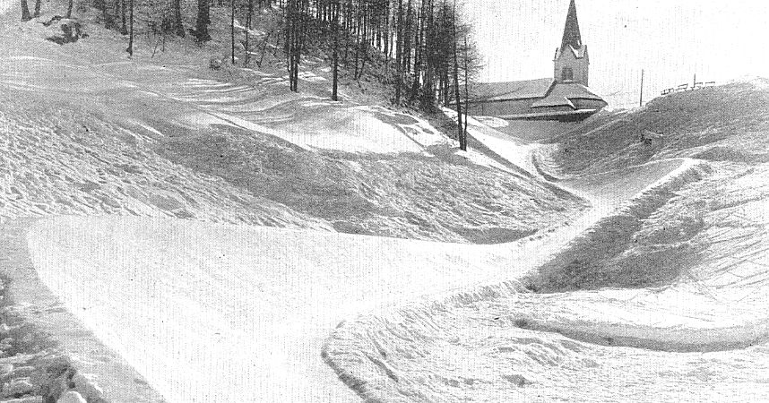 "The illustrated Sporting and Dramatic News ""Tobogganing at St. Moritz"" March 30th 1901 ""The First Three Corners Of The Cresta"""