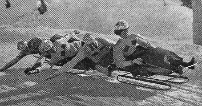 "The illustrated Sporting and Dramatic News ""Tobogganing at St. Moritz"" March 30th 1901 ""The 'Bummel Zug'"""