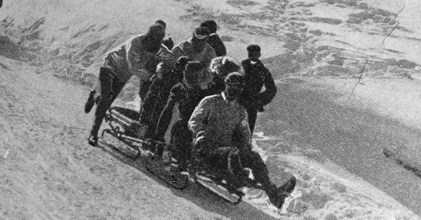 "The illustrated Sporting and Dramatic News ""Tobogganing at St. Moritz"" March 30th 1901 ""The Start Of The 'Pom Pom' Bobsleigh"""