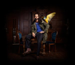 Cotton Parka and Macaw Parrot