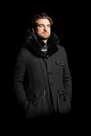 Casual Jacket with Mink Fur Collar and Yoke