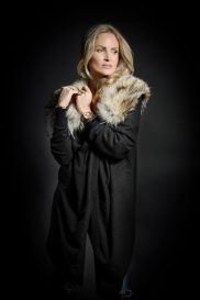 Cashmere Stole Pullover with Coyote Fur Yoke