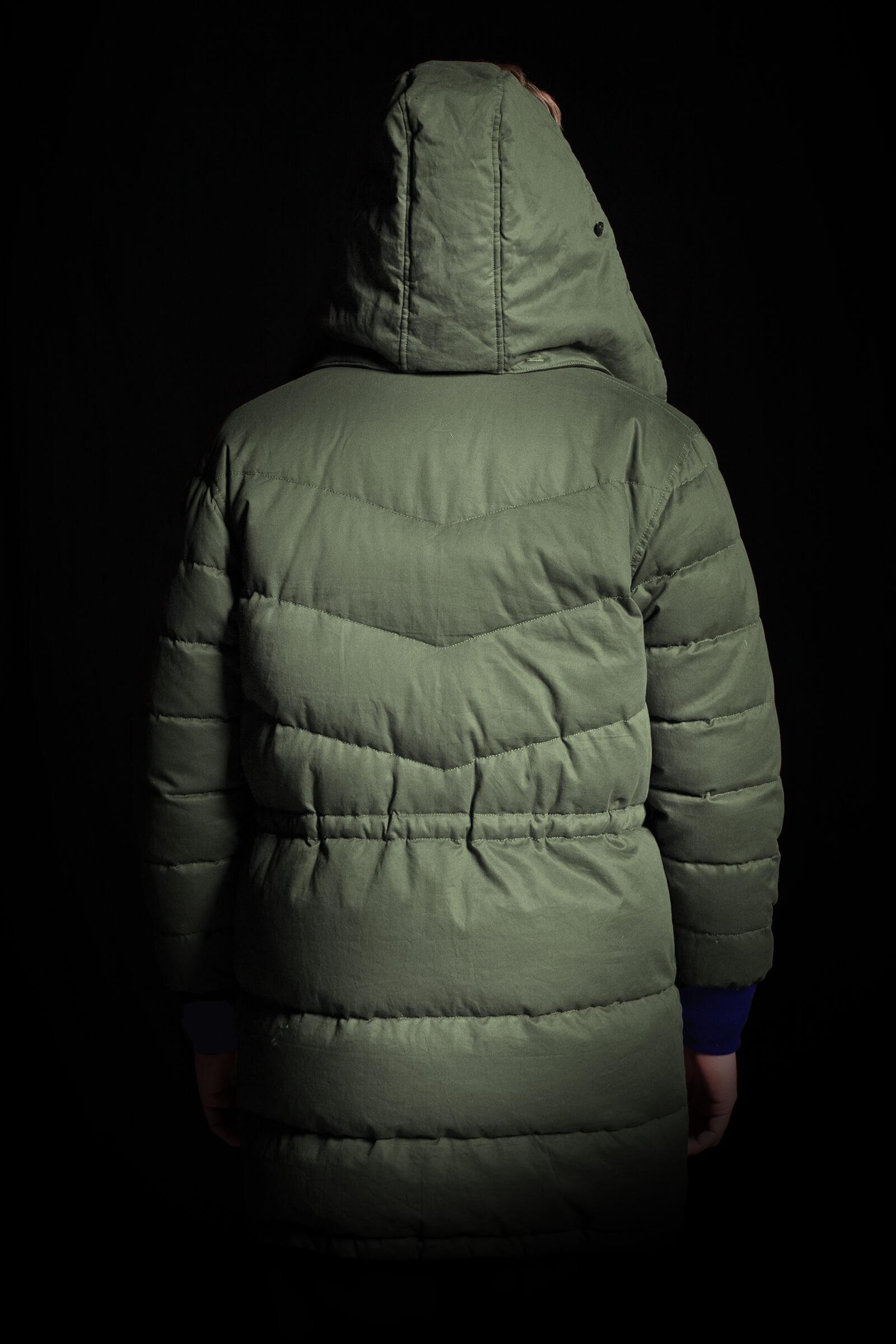 Parka cotton side back hood