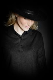 Women's long sleeve cashmere polo pullover placket embroidery