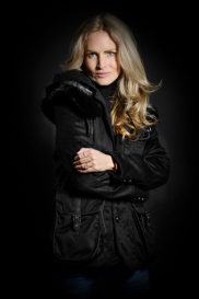 Women's Casual Jacket with Mink Fur Yoke