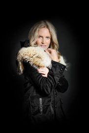 Women's Casual Jacket with Coyote Fur Yoke