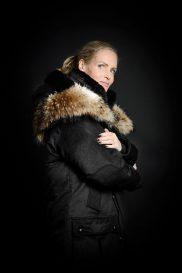 Women's Parka cashmere side Raccoon Fur Yoke
