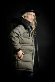 Women's Parka cotton side leather collar attachment