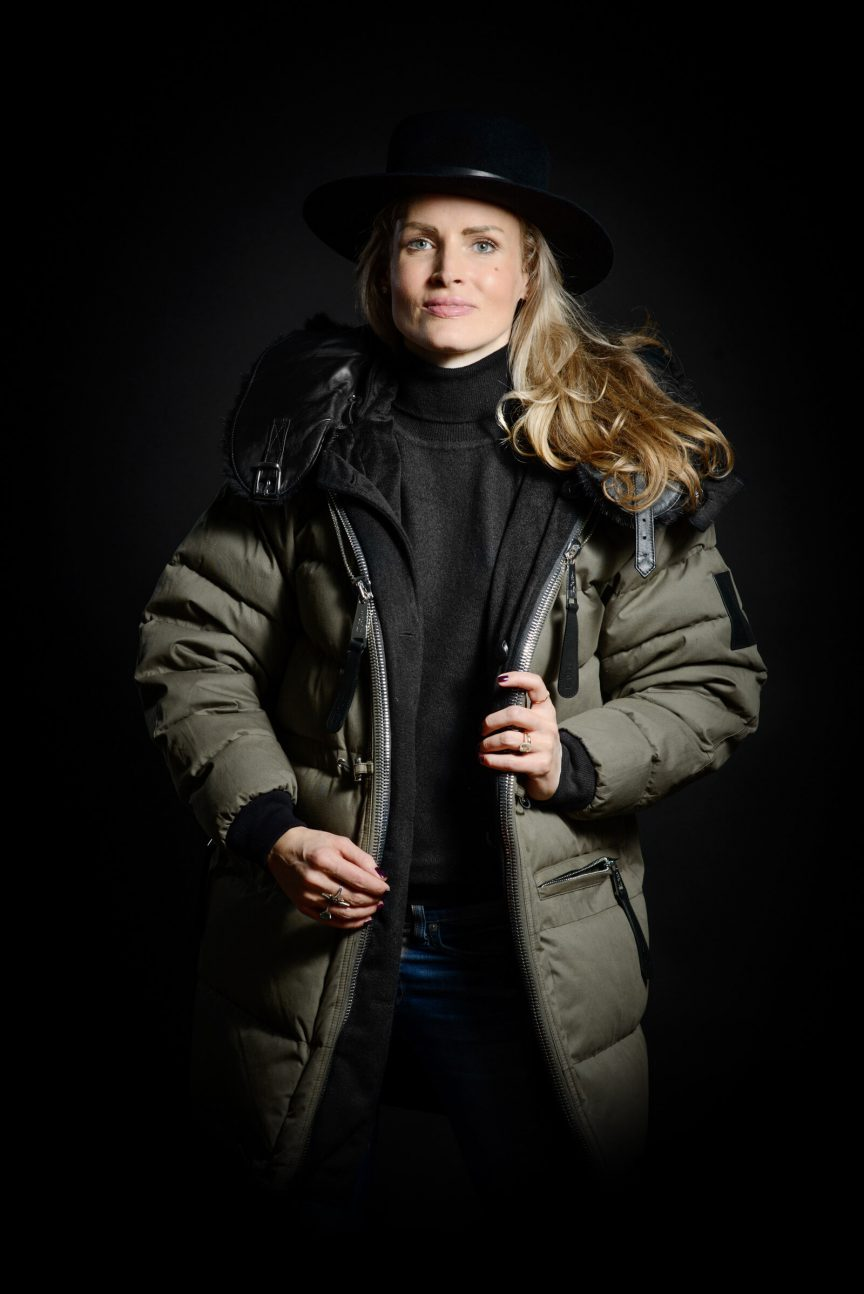 Women's Parka cotton leather collar