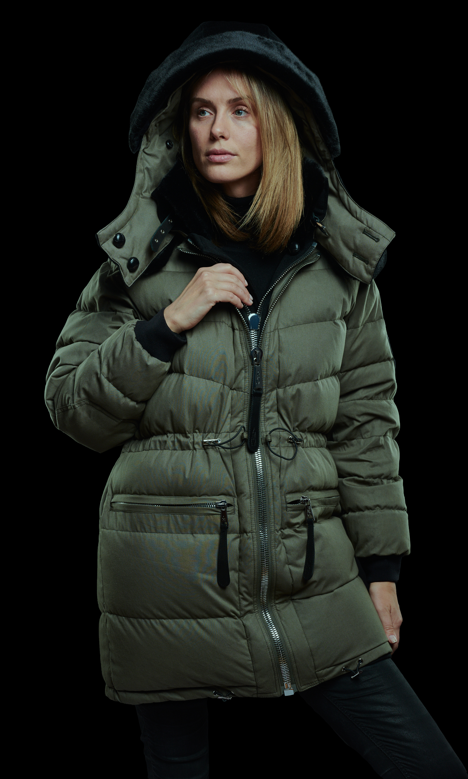 Olive green cotton side of parka