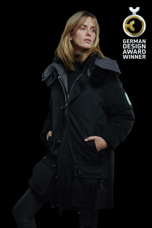 black reversible parka in loropiana cashmere with mink faux fur