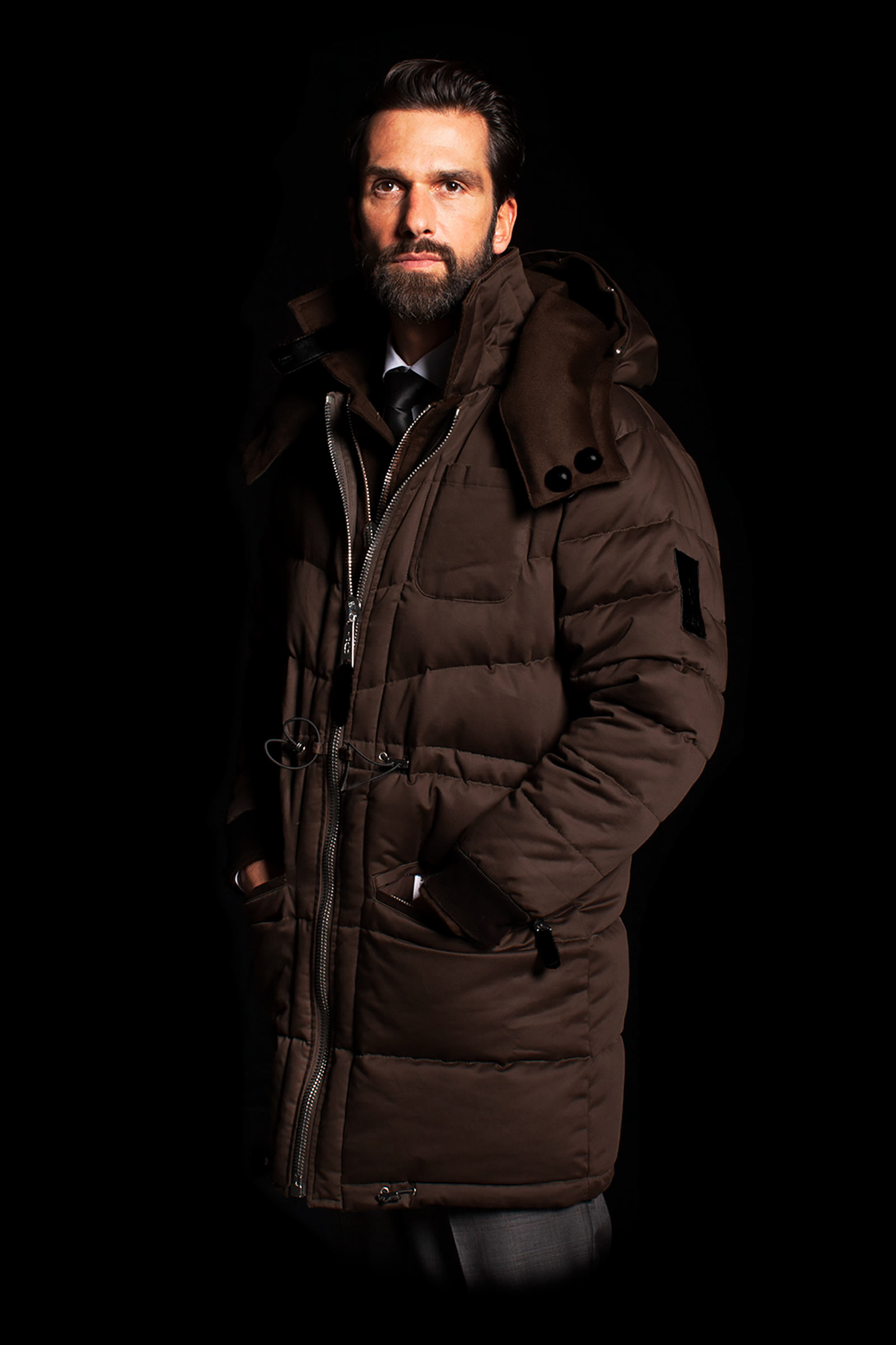 Brown Cashmere Parka with Hood