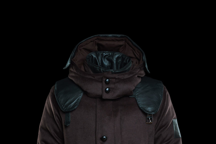 Chocolatebrown parka with leather applications