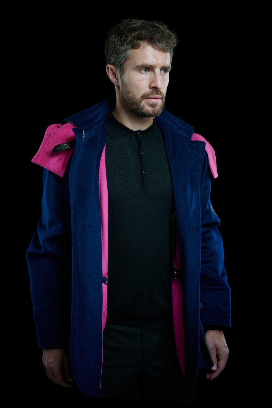 Ozeanblaues Casual Jacket mit pinkem Innenfutter